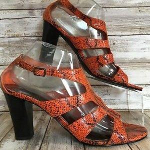 Impo Womens Topper Orange Black Snake Print 8m